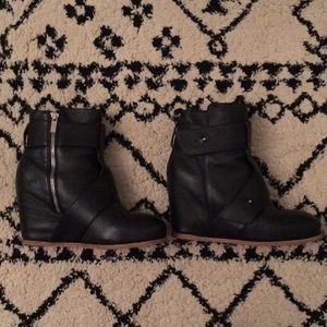 Black wedge bootie in size 8